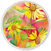 Sunflower Round Beach Towel by Kelly Perez
