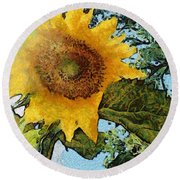 Sunflower Light Round Beach Towel