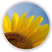 Sunflower Looking Up Round Beach Towel
