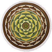 Sunflower Mandala Round Beach Towel