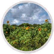 Sunflower Maze Round Beach Towel
