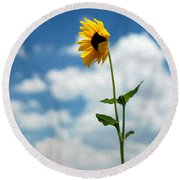 Sunflower On Route 66 Round Beach Towel