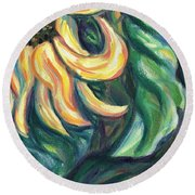 Sunflower One Panel Four Of Four Round Beach Towel