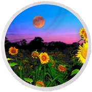 Sunflower Patch And Moon  Round Beach Towel