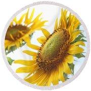 Sunflower Perspective Round Beach Towel