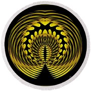Sunflower Polar Coordinate Effect 1 Round Beach Towel