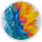 Sunflower Profile Impressionism Round Beach Towel