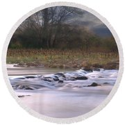 Sunflower River Round Beach Towel
