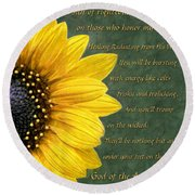 Sunflower Scripture Round Beach Towel