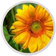 Sunflower Smile Round Beach Towel