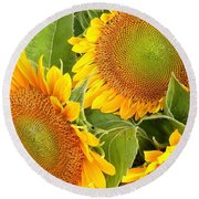 Sunflower Smiles Round Beach Towel