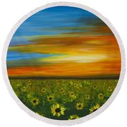 Sunflower Sunset - Flower Art By Sharon Cummings Round Beach Towel by Sharon Cummings