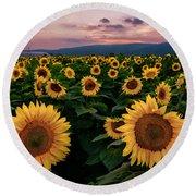 Sunflower Sunset II Round Beach Towel