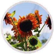Sunflower Symphony Round Beach Towel