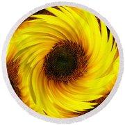 Sunflower Twirl Round Beach Towel