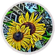 Sunflower Under The Gables Too Round Beach Towel