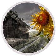 Sunflower Watch Round Beach Towel by Debra and Dave Vanderlaan
