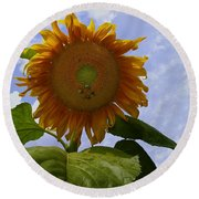 Sunflower With Busy Bees Round Beach Towel