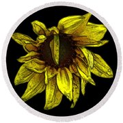 Sunflower With Contours Effect Round Beach Towel