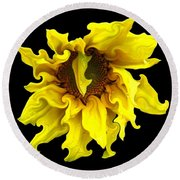 Sunflower With Curlicues Effect Round Beach Towel