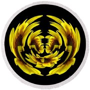 Sunflower With Warp And Polar Coordinates Effects Round Beach Towel
