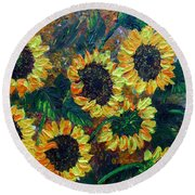 Sunflowers 2 Round Beach Towel
