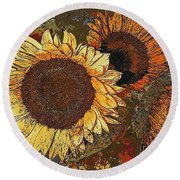 Sunflowers 397-08-13 Marucii Round Beach Towel
