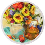 Sunflowers And Copper Round Beach Towel