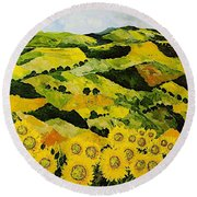 Sunflowers And Sunshine Round Beach Towel