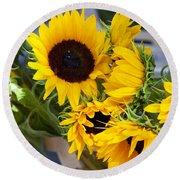 Sunflowers At Market Round Beach Towel