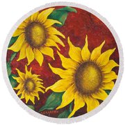 Sunflowers At Sunset Round Beach Towel