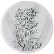 Sunflowers Black And White Round Beach Towel
