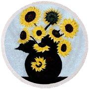 Sunflowers Expressive Brushstrokes Round Beach Towel