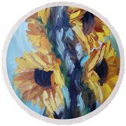Sunflowers II Round Beach Towel