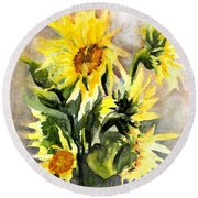 Sunflowers In Abstract Round Beach Towel