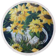 Sunflowers In An Antique Country Pot Round Beach Towel by Eloise Schneider