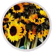Sunflowers In Blue Bowls Round Beach Towel