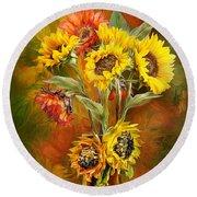 Sunflowers In Sunflower Vase Round Beach Towel by Carol Cavalaris