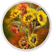 Sunflowers In Sunflower Vase - Square Round Beach Towel