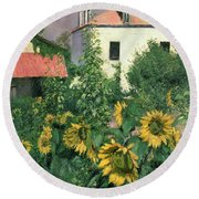 Sunflowers In The Garden At Petit Gennevilliers  Round Beach Towel