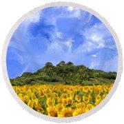 Sunflowers In Tuscany Round Beach Towel