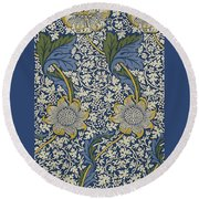 Sunflowers On Blue Pattern Round Beach Towel