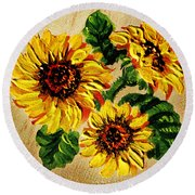 Sunflowers On Wooden Board Round Beach Towel