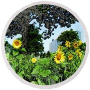 Sunflowers Outside Ford Motor Company Headquarters In Dearborn Michigan Round Beach Towel by Design Turnpike