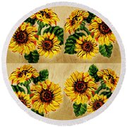Sunflowers Pattern Country Field On Wooden Board Round Beach Towel