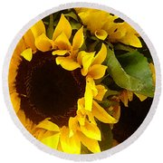 Sunflowers Wide Round Beach Towel