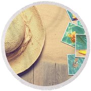 Sunhat And Postcards Round Beach Towel by Amanda Elwell