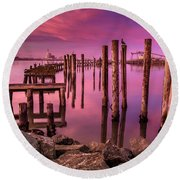 Sunk In Twilight Round Beach Towel