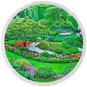Sunken Garden In Butchart Gardens Near Victoria-british Columbia Round Beach Towel