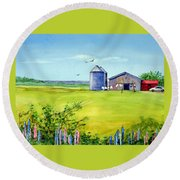 Sunkissed And Windblown Lupines And Laundry In Pei Round Beach Towel